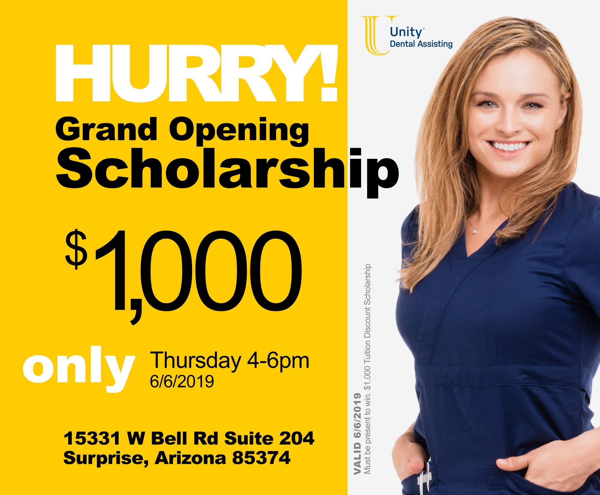 $1,000 Grand Opening Scholarship - HURRY! - One Day Only!